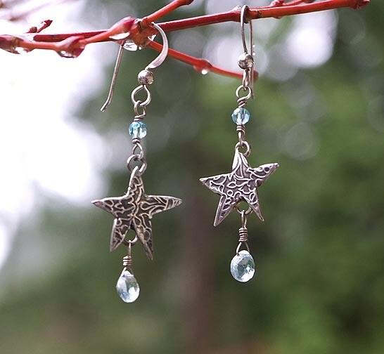 Stars and Aquamarine Earrings