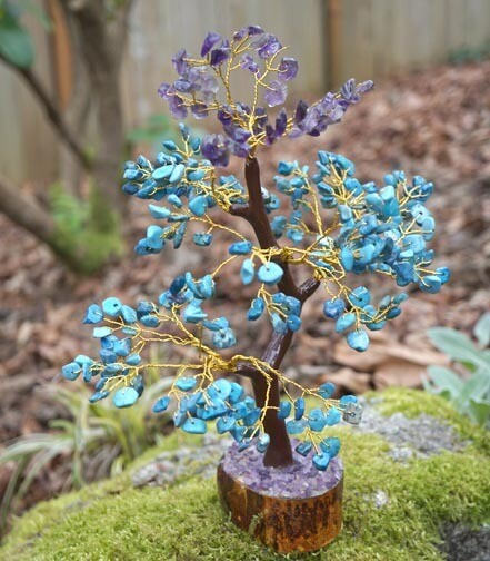 Amethyst and Turquoise Gemstone Tree