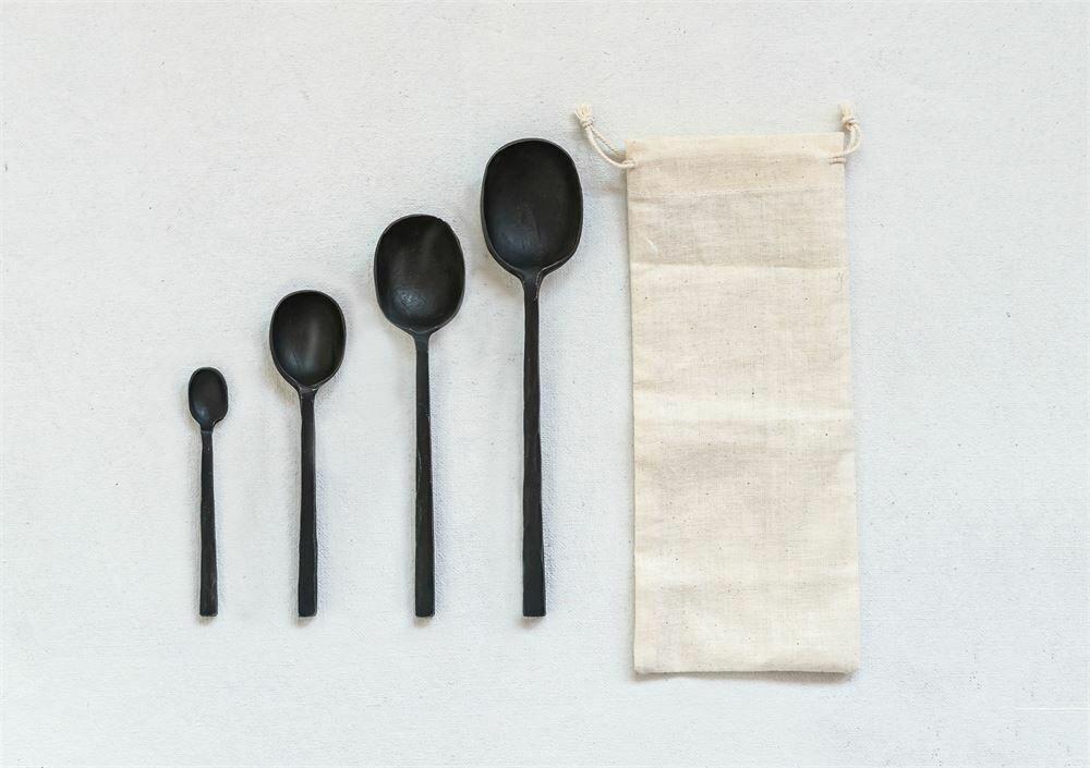 Black Cast Spoons- Set Of 4
