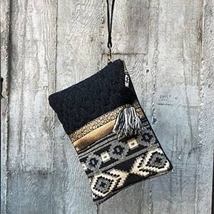 Black Tassel Clutch w/ Gold Detail