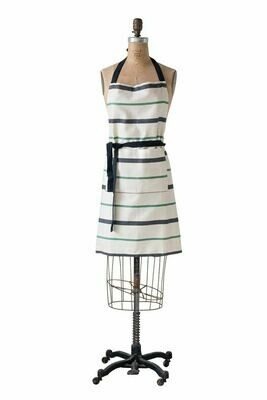 Cotton Print Apron Black/Green/Natural Stripe
