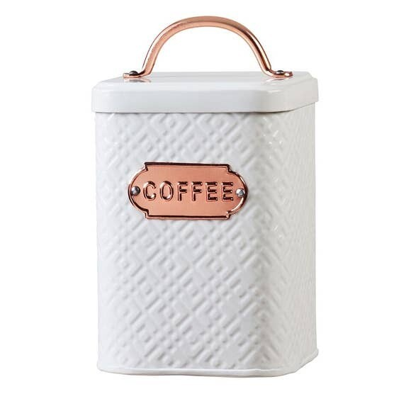 Embossed White Metal And Copper Coffee Canister