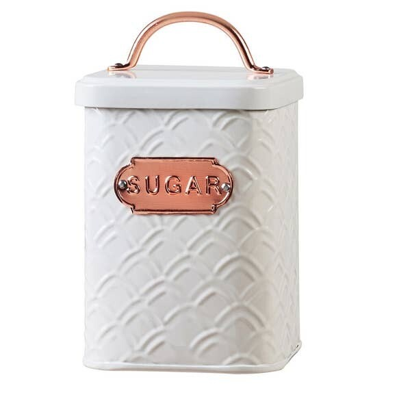 Embossed White Metal And Copper Sugar Canister- Amici Home