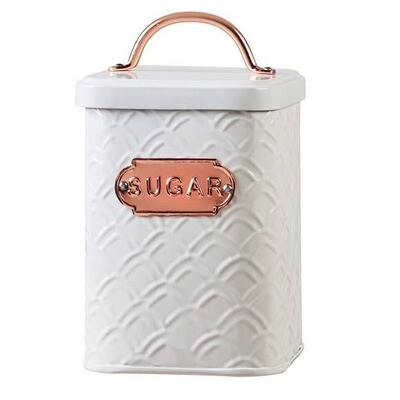 Embossed White Metal And Copper Sugar Canister