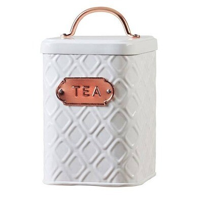 Embossed White Metal And Copper Tea Canister