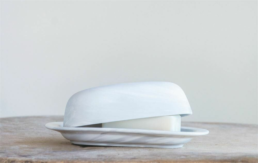 Faux Marble Stoneware Butter Dish- Creative Co-op