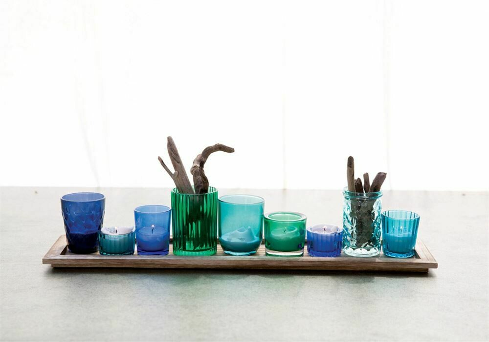 Glass Votives w/Wood Tray Set of 10-Blue Tones