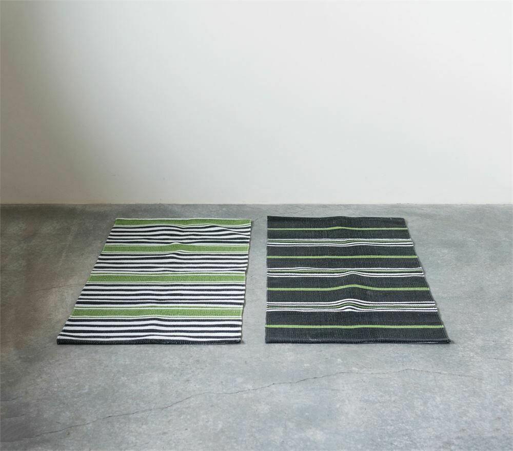 Green/ Black Stripe Cotton Dhurrie Rug