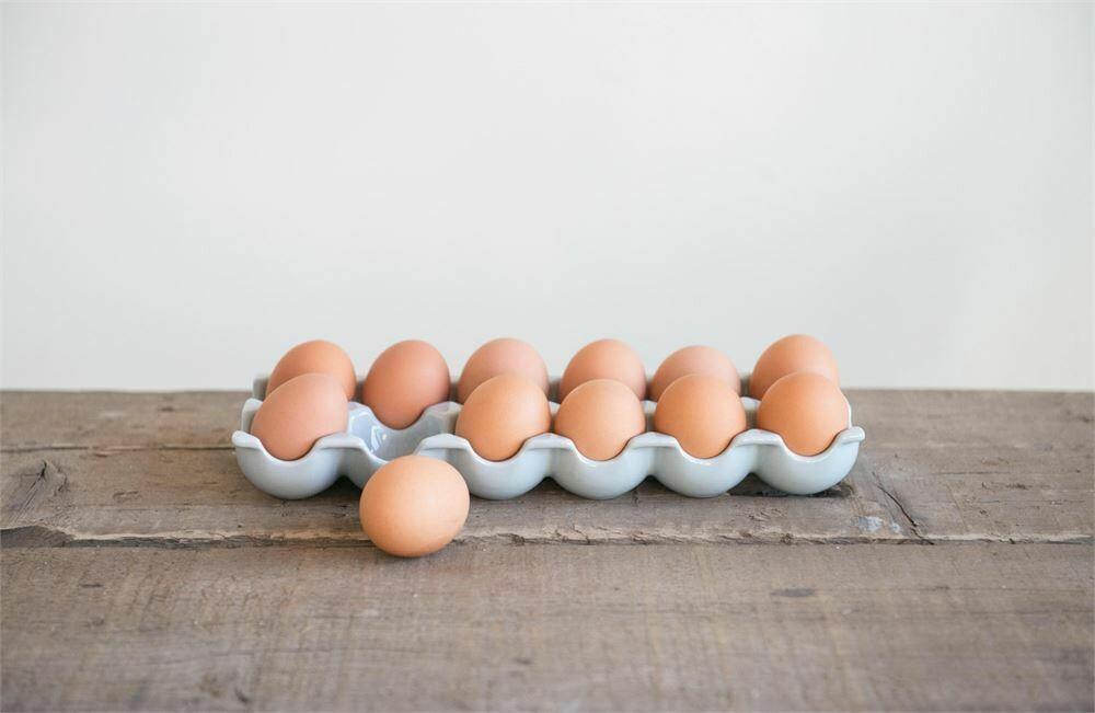 Grey Stoneware Egg Carton- Creative Co-op