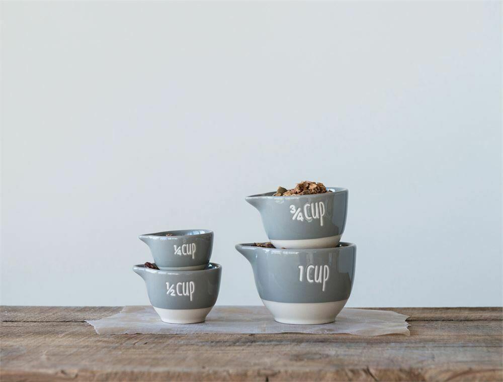 Grey & White Stoneware Measuring Cups