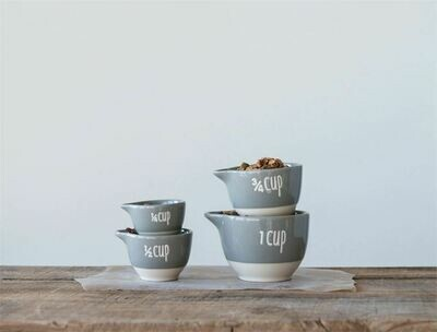 Grey & White Stoneware Measuring Cups