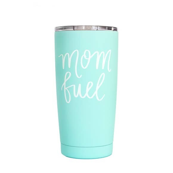 Hand Lettered Metal Travel Mug- Mom Fuel