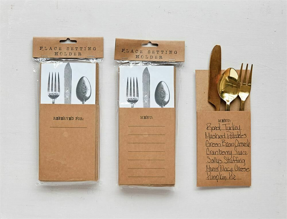 Kraft Paper Place Setting Holder- Creative Co-op Menu