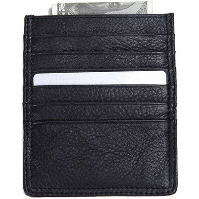 Leather Double Sided Card Holder- Black
