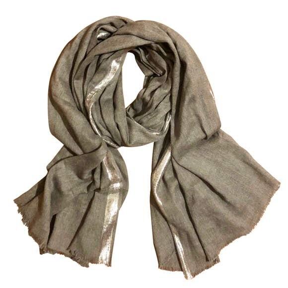 Metallic Edge Cotton Scarf- Grey