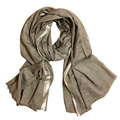 Metallic Edge Cotton Scarf- Grey