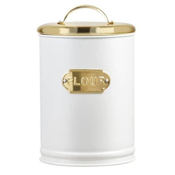 White & Gold Metal Flour Tin- Amici Home