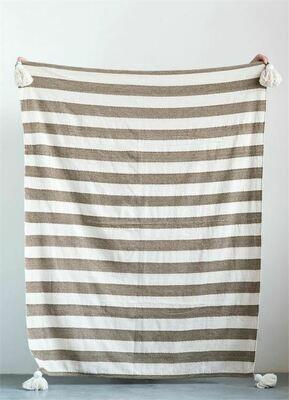 Tan/Cream Metallic Cotton Throw w/ Tassels