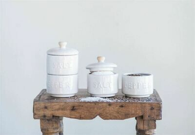 Stoneware Stackable Salt & Pepper