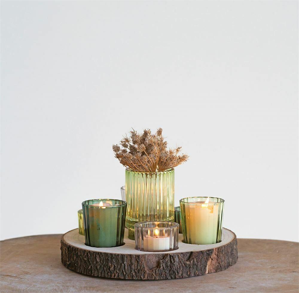 Round Paulownia Wood Tray w/ 7 Glass Votive Holders- Creative Co-op