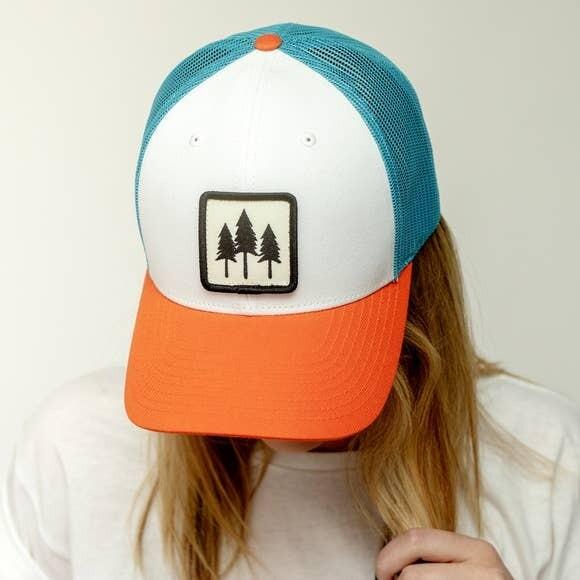 Colorful Three Tree Trucker Hat- The Montana Scene