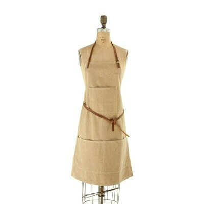 Cotton Canvas & Leather Apron w/ Pockets- Creative Co-op