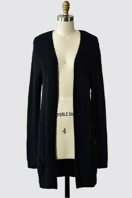 Warm & Cozy Cardigan w/ Pockets- Black