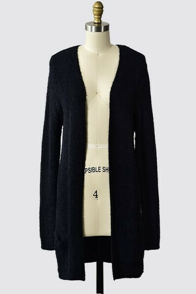 Warm & Cozy Cardigan w/ Pockets- Black