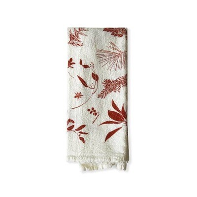 Flour Sack Napkins-Red Boughs+Berries : Set 4