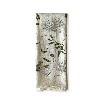 Flour Sack Napkins-Green Boughs+Berries : Set 4