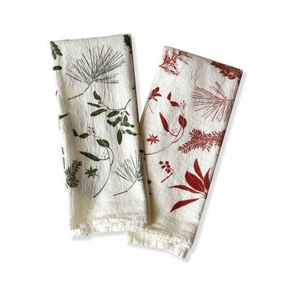 Flour Sack Napkins-Mixed Bough & Berries: Set Of 4