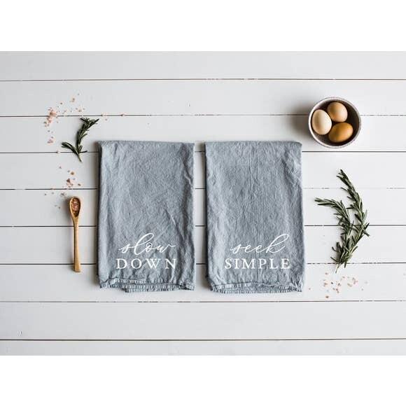 Slow Down & Seek Simple Tea Towel Set
