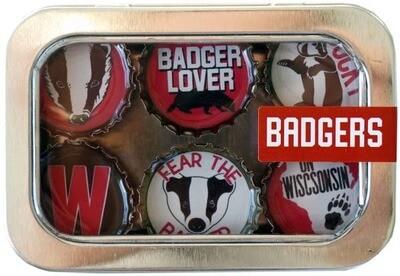 Wisconsin Proud Designer Bottle Cap Magnets- Kate Grenier Designs Badgers