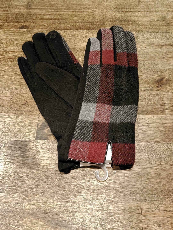 Gloves- Charcoal Plaid