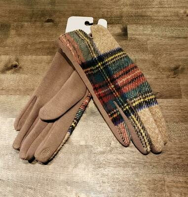Gloves- Beige Plaid
