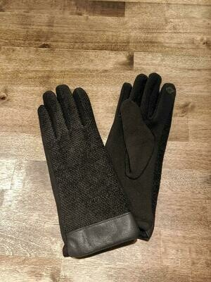 Leather Trimmed Chenille Gloves- Black