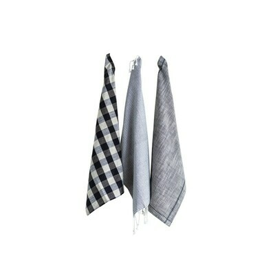 Gingham & Stripe Tea Towels Set Of 3- Creative Co-op