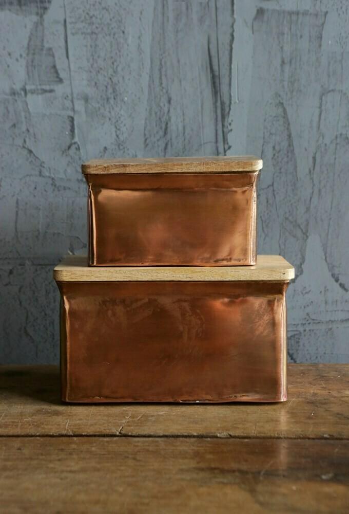 Copper Box w/ Mango Wood Lid-  8