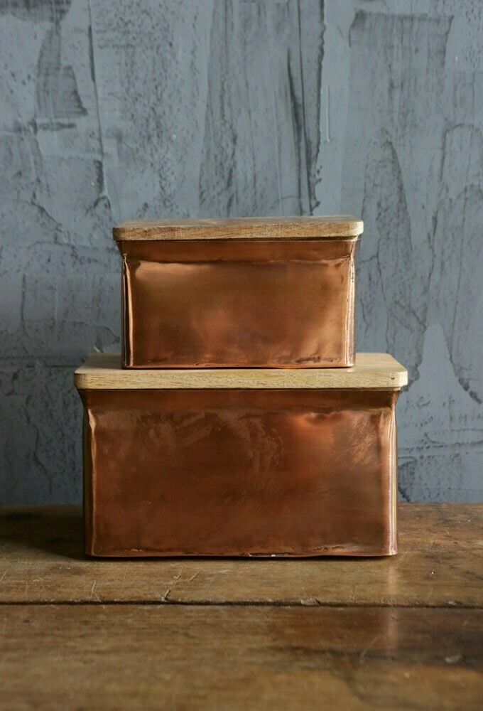 Copper Box w/ Mango Wood Lid-  4