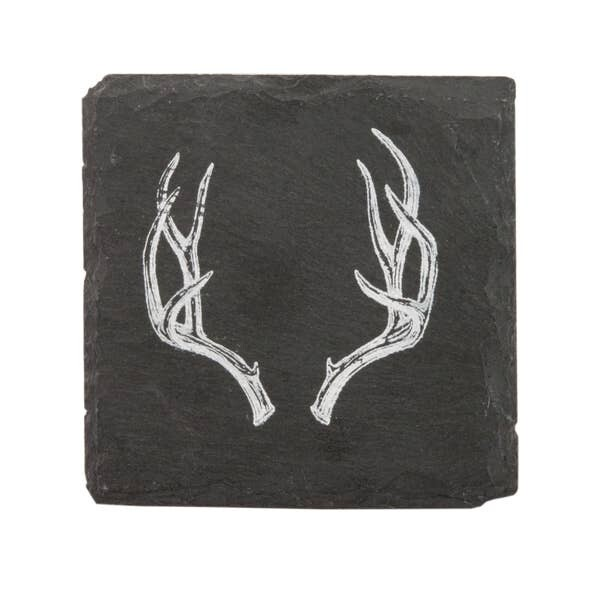 Rustic Antler Slate Coaster Set