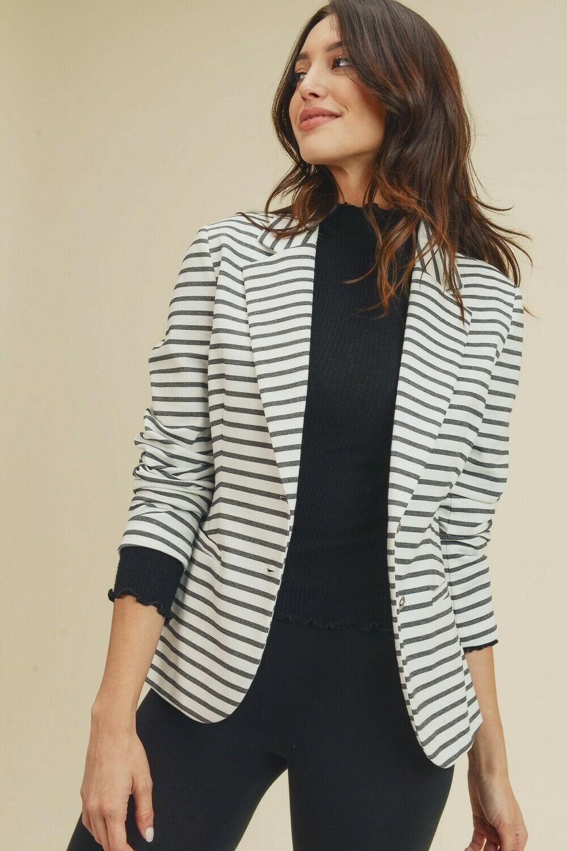 Stripe Double Button Blazer- Doe & Rae