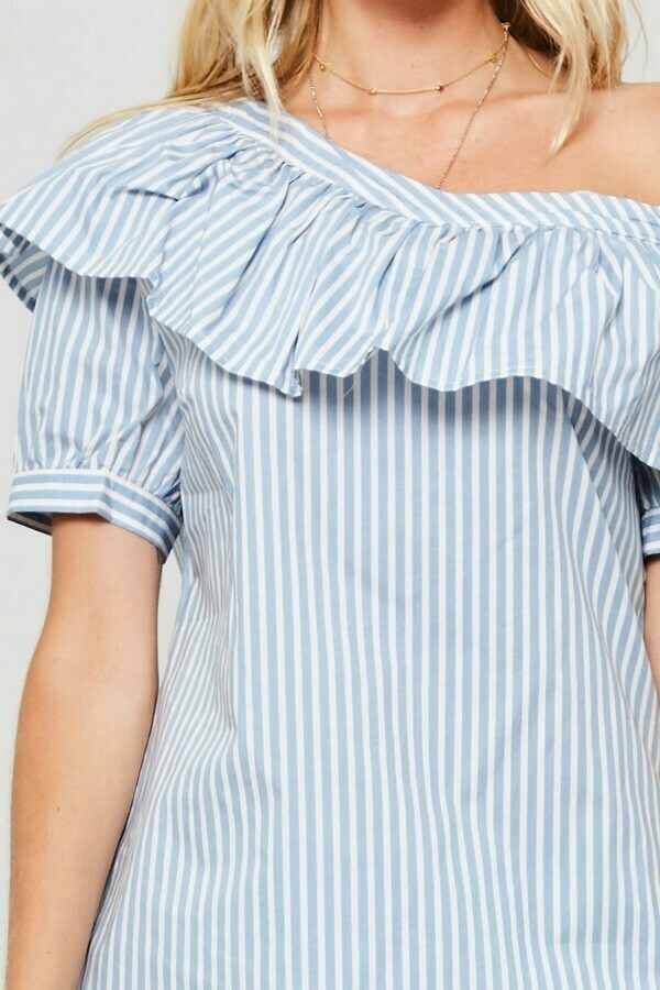 Asymmetric Short Sleeve Grey Striped Blouse