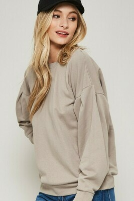 Crew Neck Sweater w/ Lace Back Detail