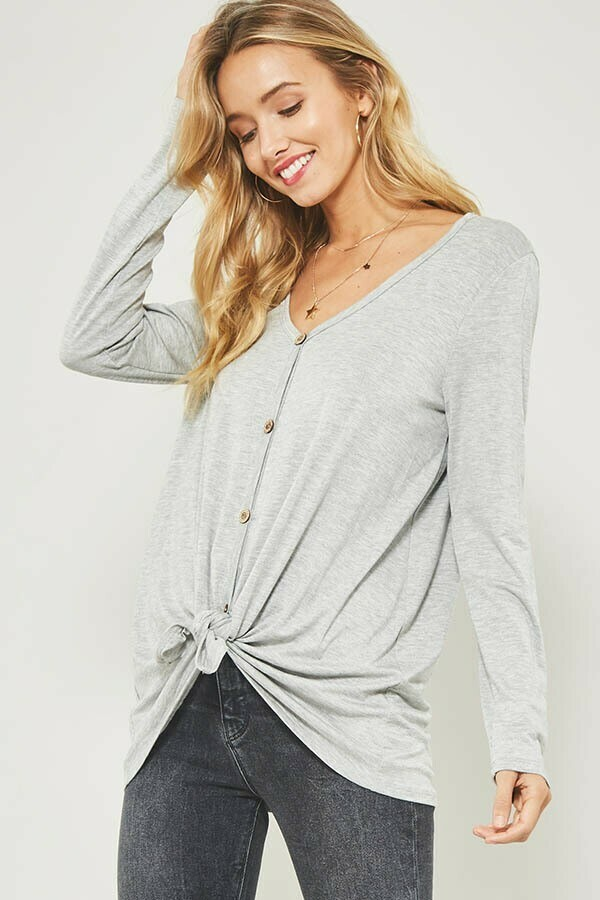 Vneck Long Sleeve Tee w/ Button Front and Knotted Hem Detail