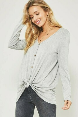 Vneck Long Sleeve Tee w/ Button Front and Knotted Hem Detail- Promesa