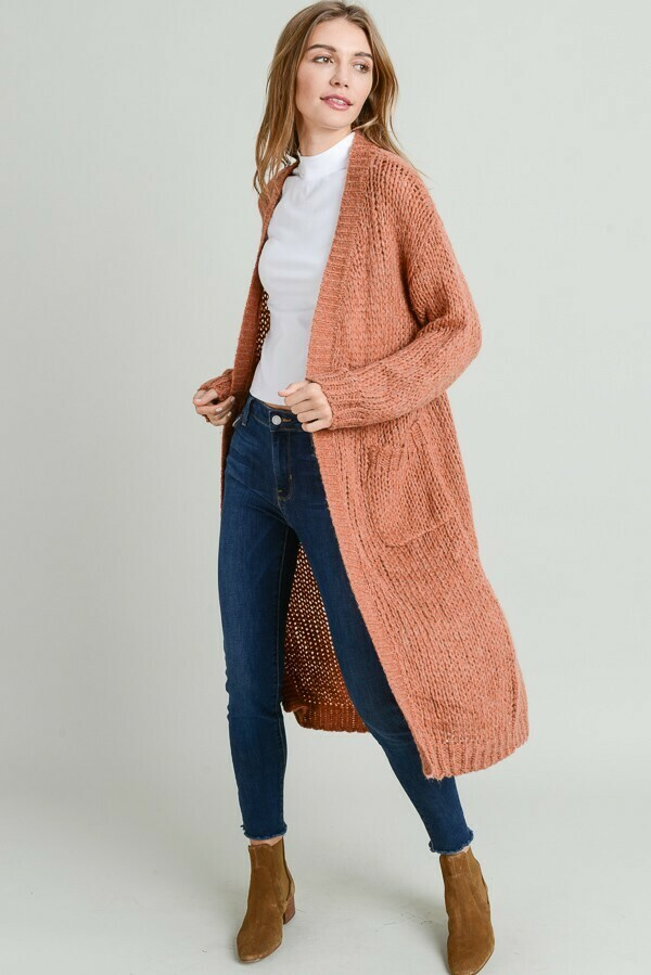 Oversized Comfy Duster Length Cardigan