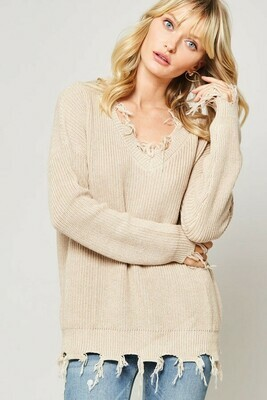 Solid Knit Sweater w/ Distressed Detail- Promesa Medium/ Large Taupe