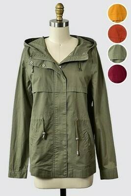 Hooded Utility Jacket- Olive