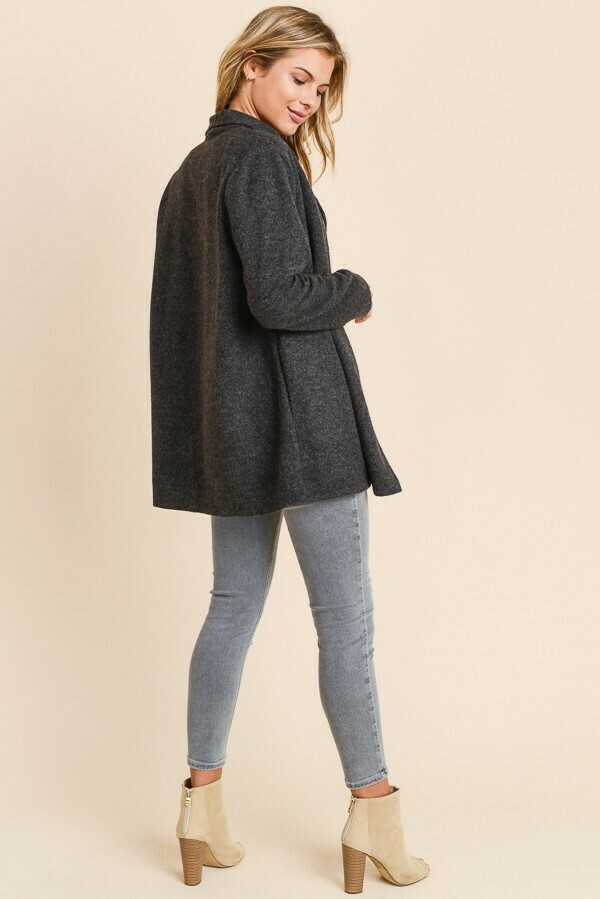 Fuzzy Blazer Coat- Charcoal