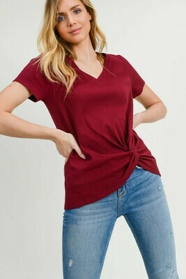 Ribbed V-neck Twisted Side Tee